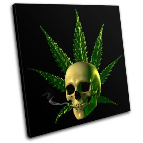 Cannabis Skull Illustration - 13-1325(00B)-SG11-LO